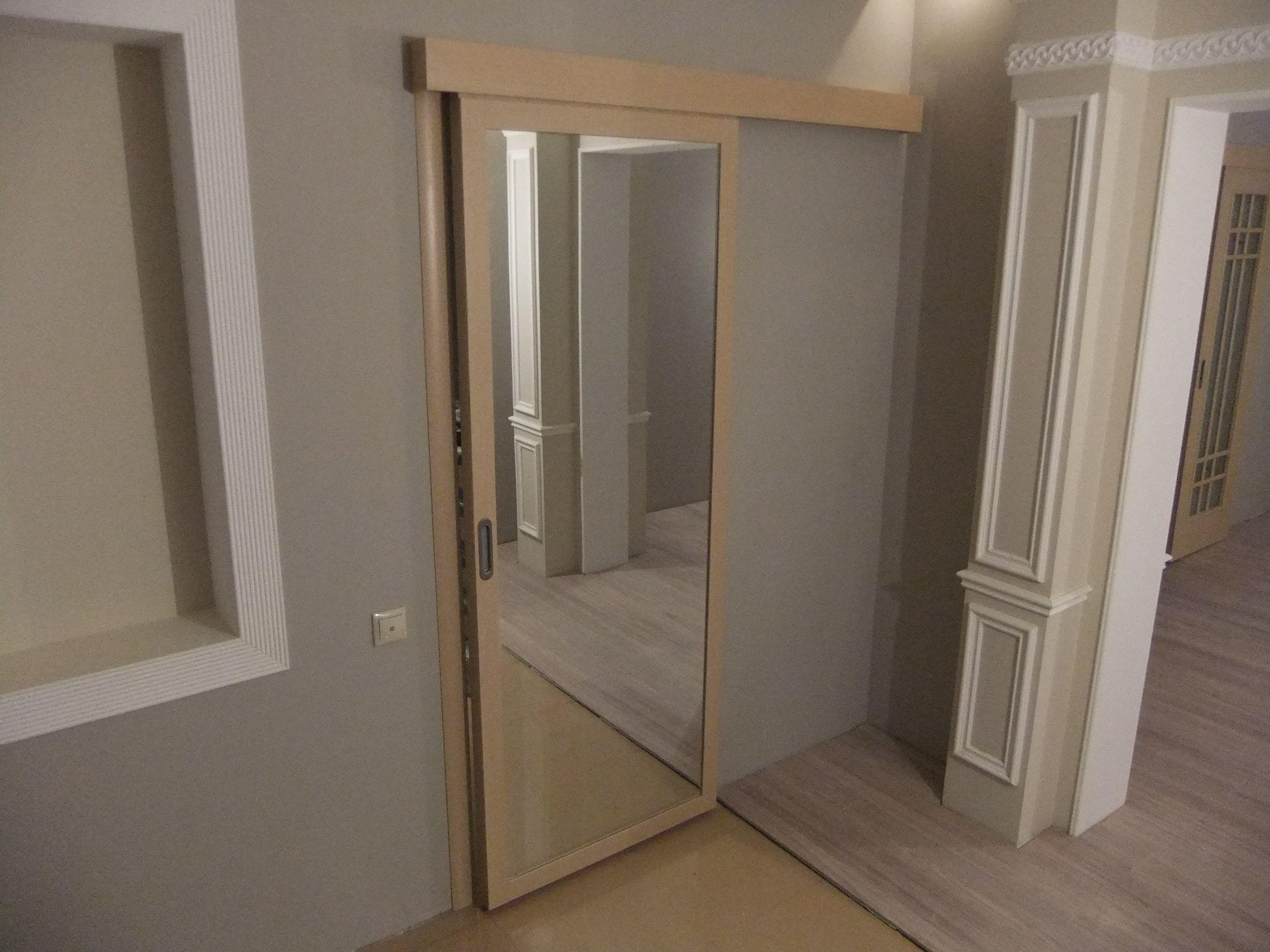 Межкомнатная дверь с зеркалом с одной стороны: установка сво.