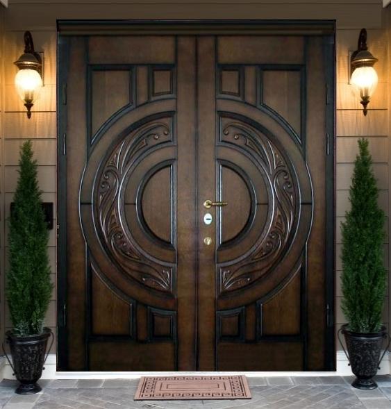 нестандартные входные двустворчатые двери